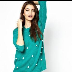 MINKPINK Teal Turquoise Blue Pom Pom Dot Sweater
